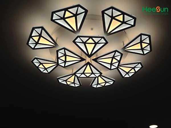 Đèn led ốp trần kim cương