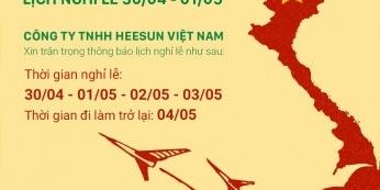 Heesun Thông báo lịch nghỉ lễ 30/4-1/5 -
